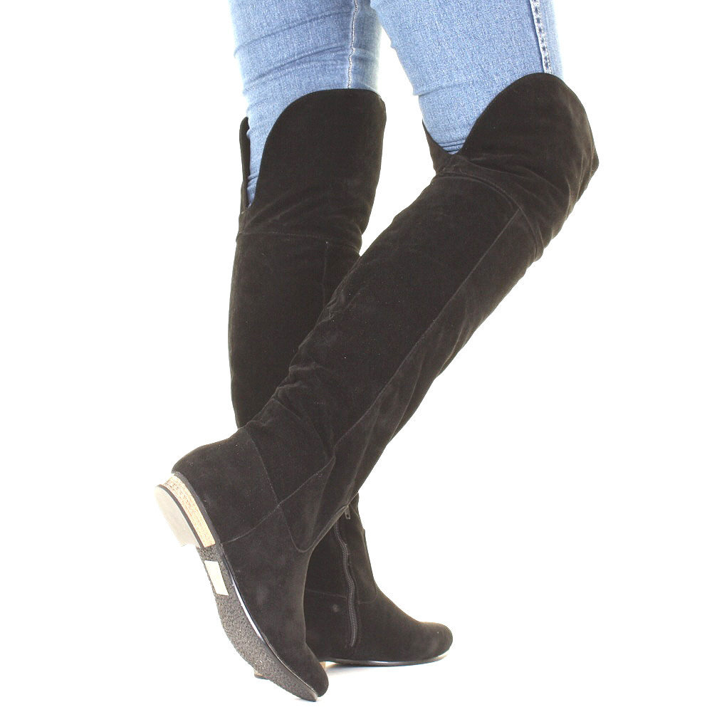 womens knee flat suede look black thigh high