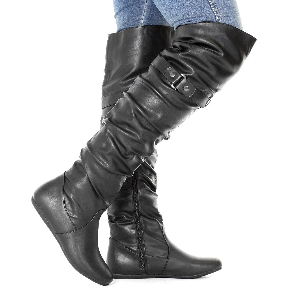 stiefel damen berknie flach schwarz boots 36 41 gerafft. Black Bedroom Furniture Sets. Home Design Ideas