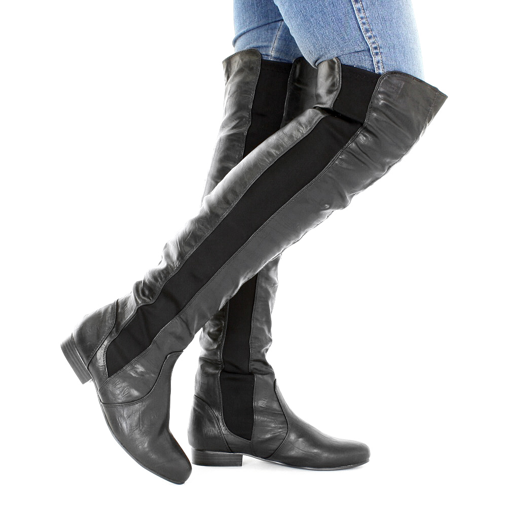 womens black knee leather style flat thigh high