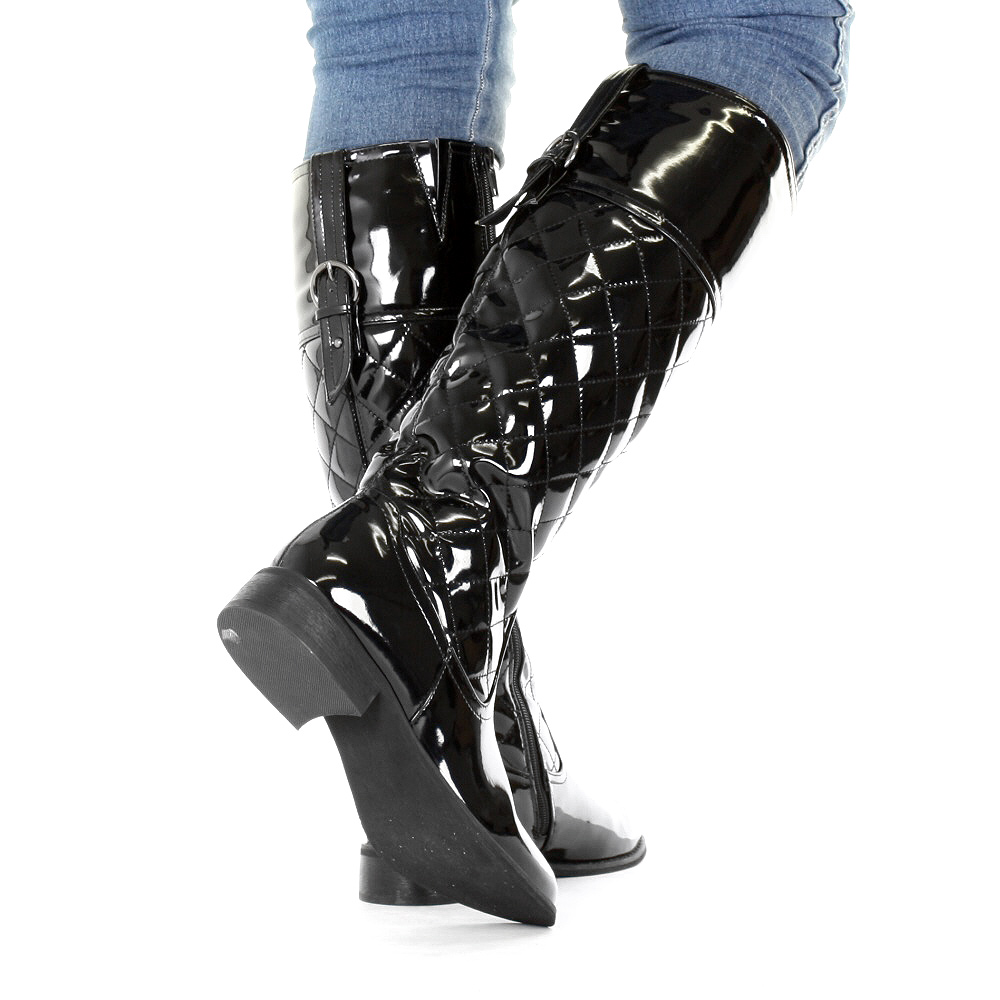 womens knee high black patent quilted flat