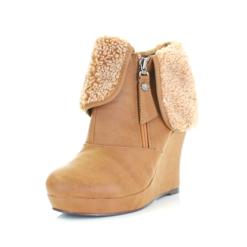 WOMENS LADIES BROWN CAMEL TAN XTI WEDGE ANKLE BOOTS, FLEECE CUFF ...