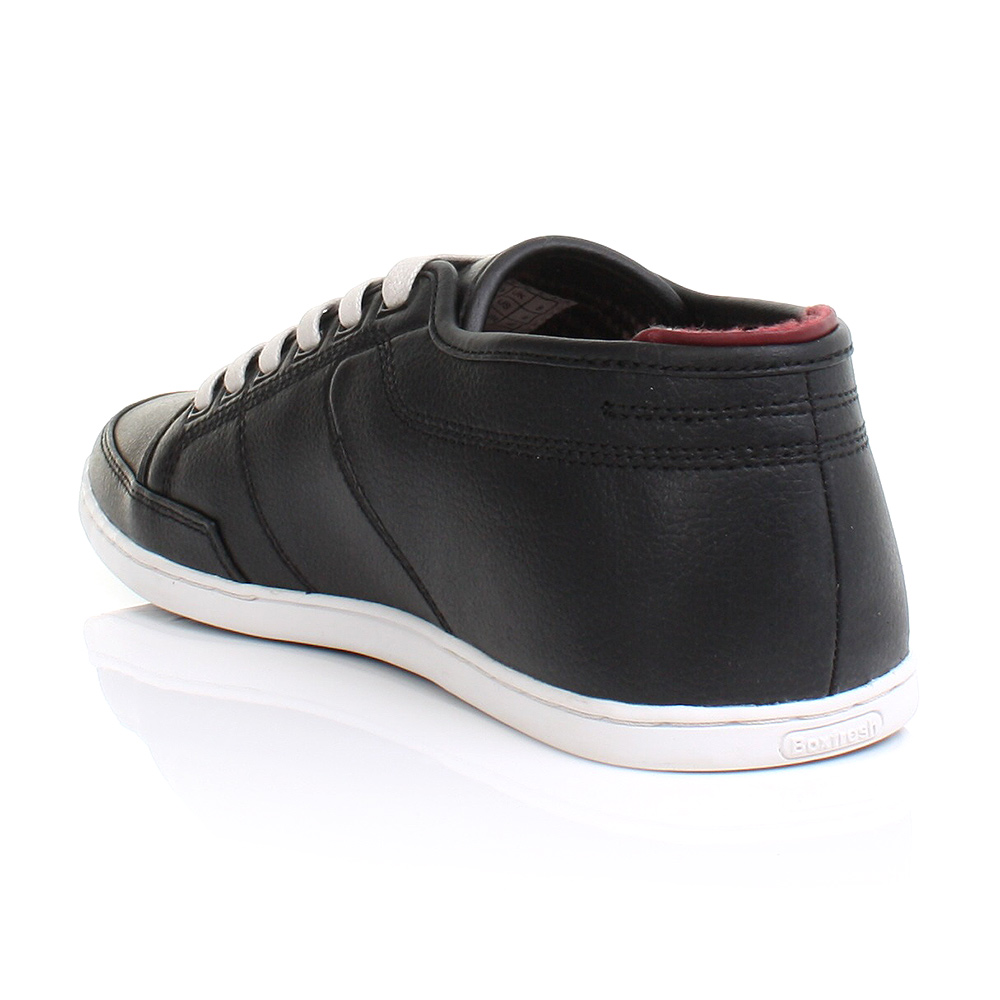 mens boxfresh sparko black leather smart casual trainers