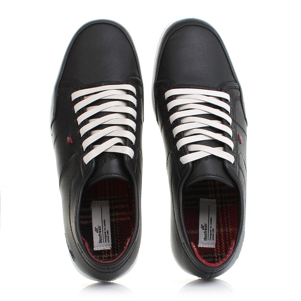 mens boxfresh sparko black leather smart casual trainers. Black Bedroom Furniture Sets. Home Design Ideas