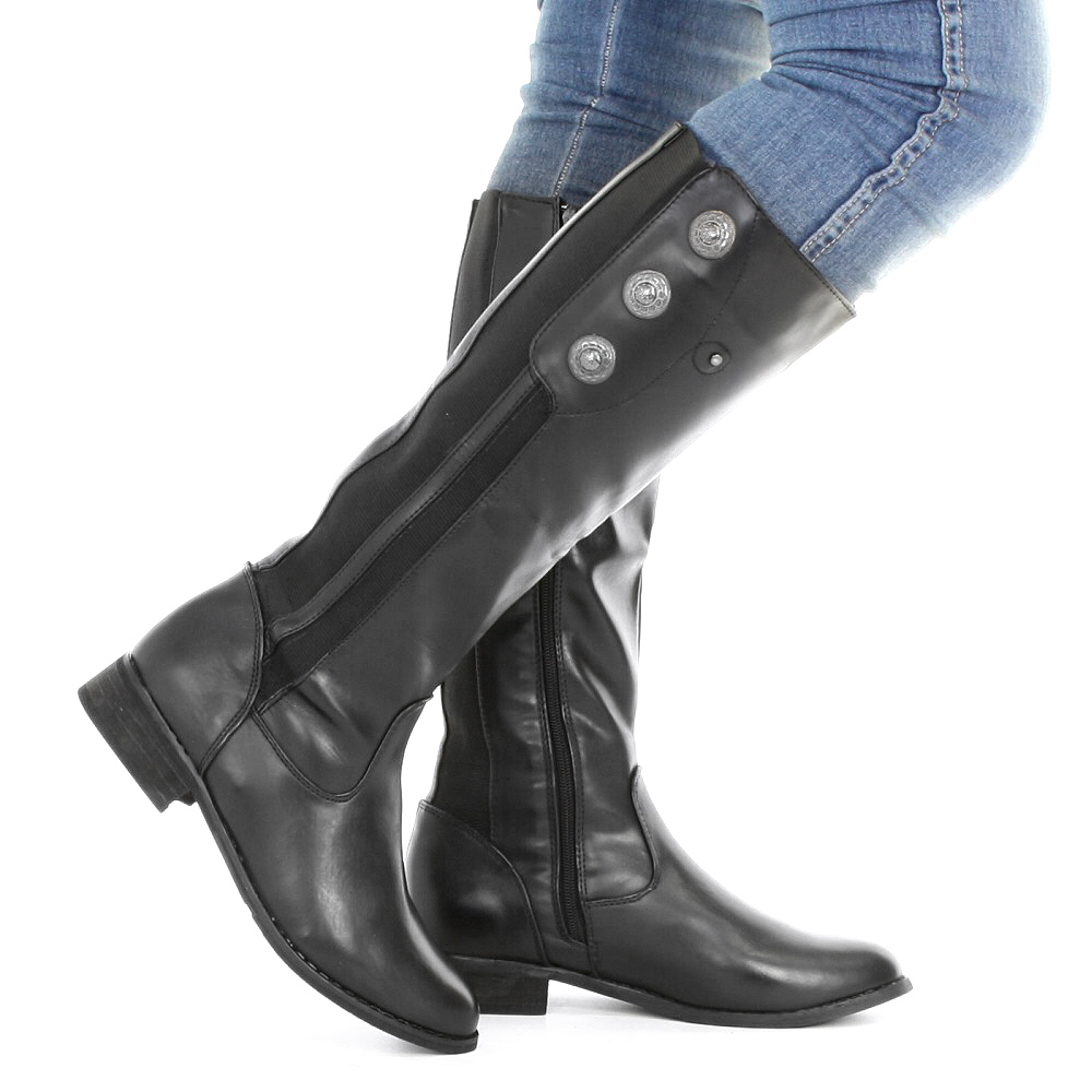 womens black leather style wide calf fit button