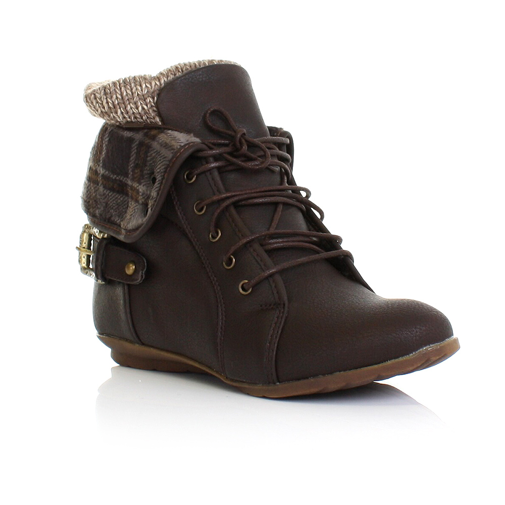 LADIES LACE UP KNITTED CUFF FLAT LEATHER STYLE ANKLE BOOTS SIZE 3-8Brown Flat Ankle Boots