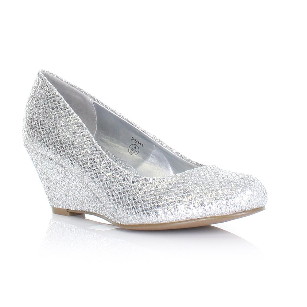 womens metallic low wedge heel shimmer glitter