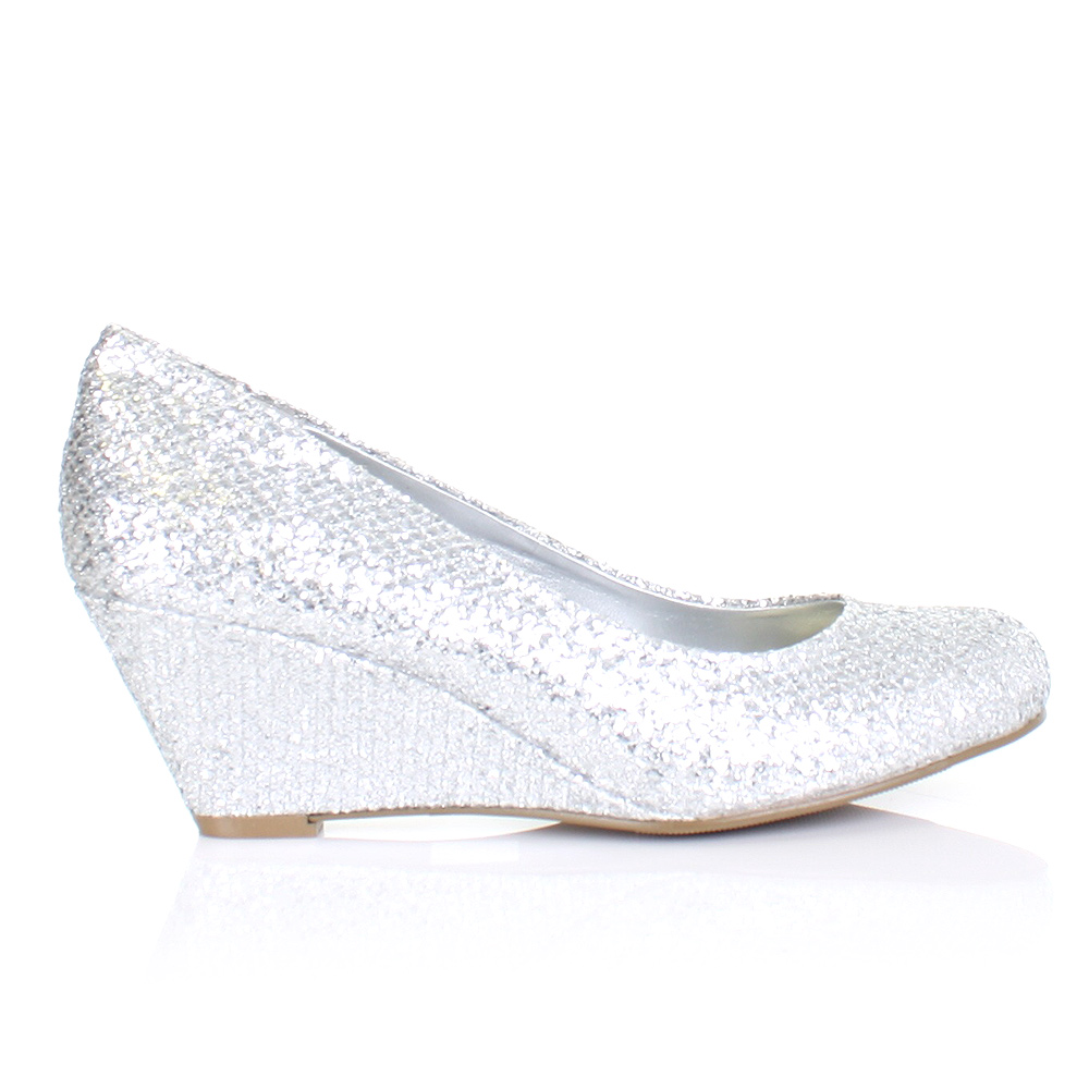 WOMENS LADIES METALLIC LOW WEDGE HEEL SHIMMER GLITTER COURT SHOES ...