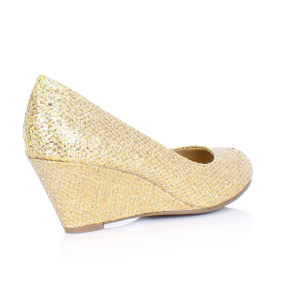 33 - Gold Wedge Heels