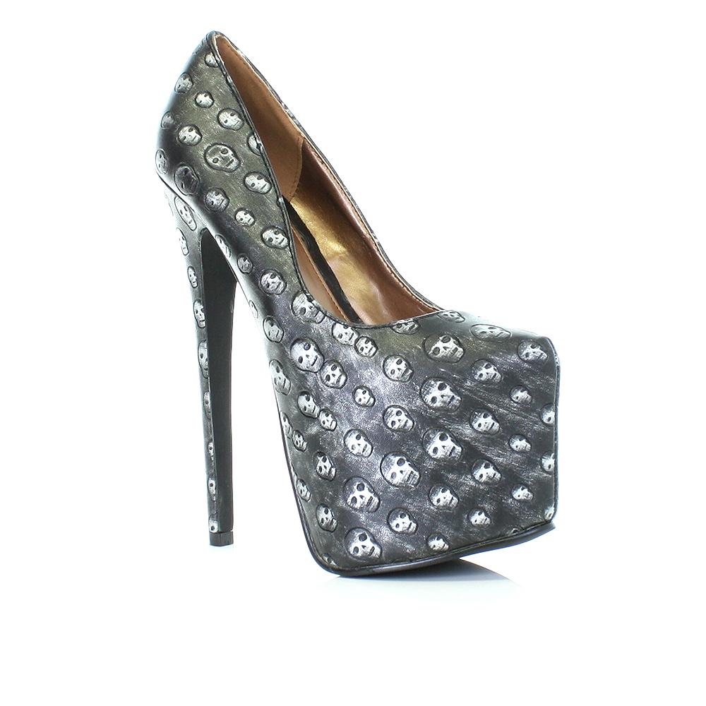 womens mega high heel platform 17cm stiletto skull