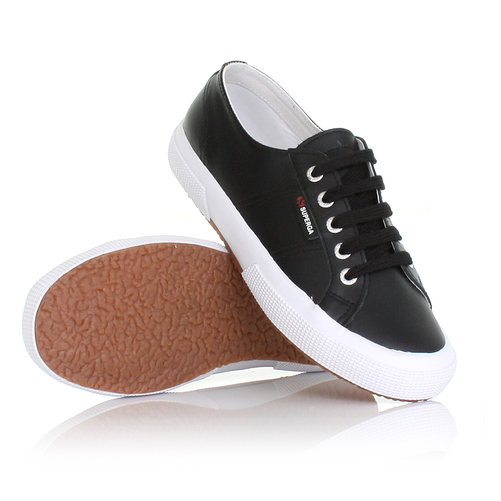 mens womens superga 2750 leather black flat shoes