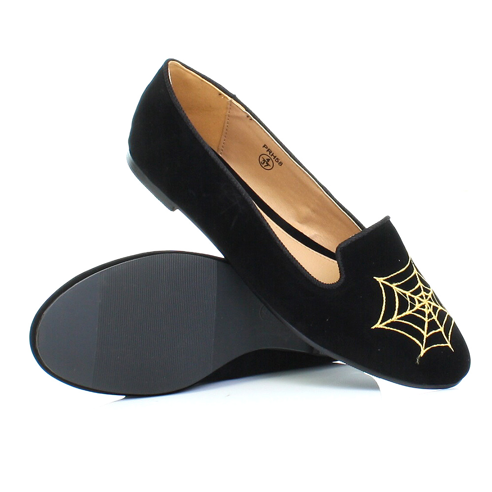 flat black slipper loafers gold spider web shoes