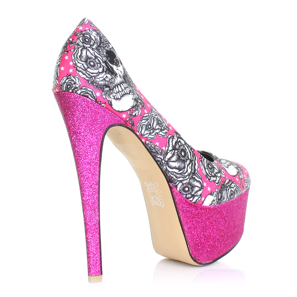 pumps damen iron fist pink plateau high heel glitzer schuhe eu 36 41 ebay. Black Bedroom Furniture Sets. Home Design Ideas