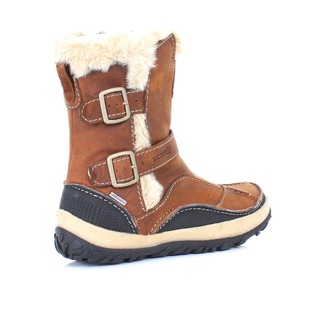 womens merrell taiga buckle camel brown waterproof leather