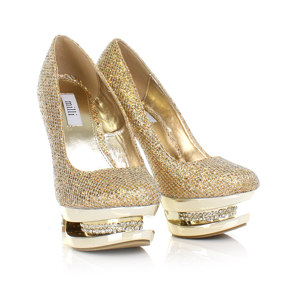 WOMENS LADIES GOLD DIAMANTE PLATFORM ENCRUSTED HIGH HEEL ...