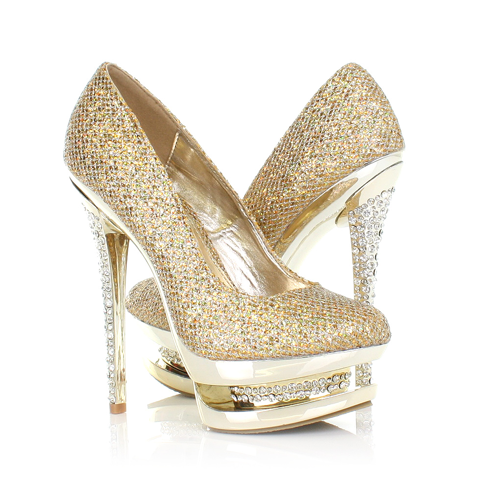 High Heel Gold Shoes - Is Heel