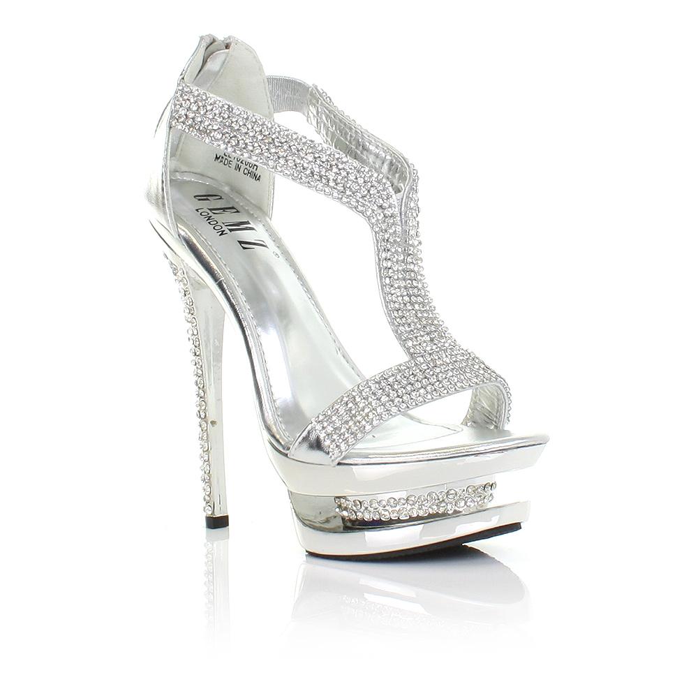 womens shoes silver diamante high heel glam platform