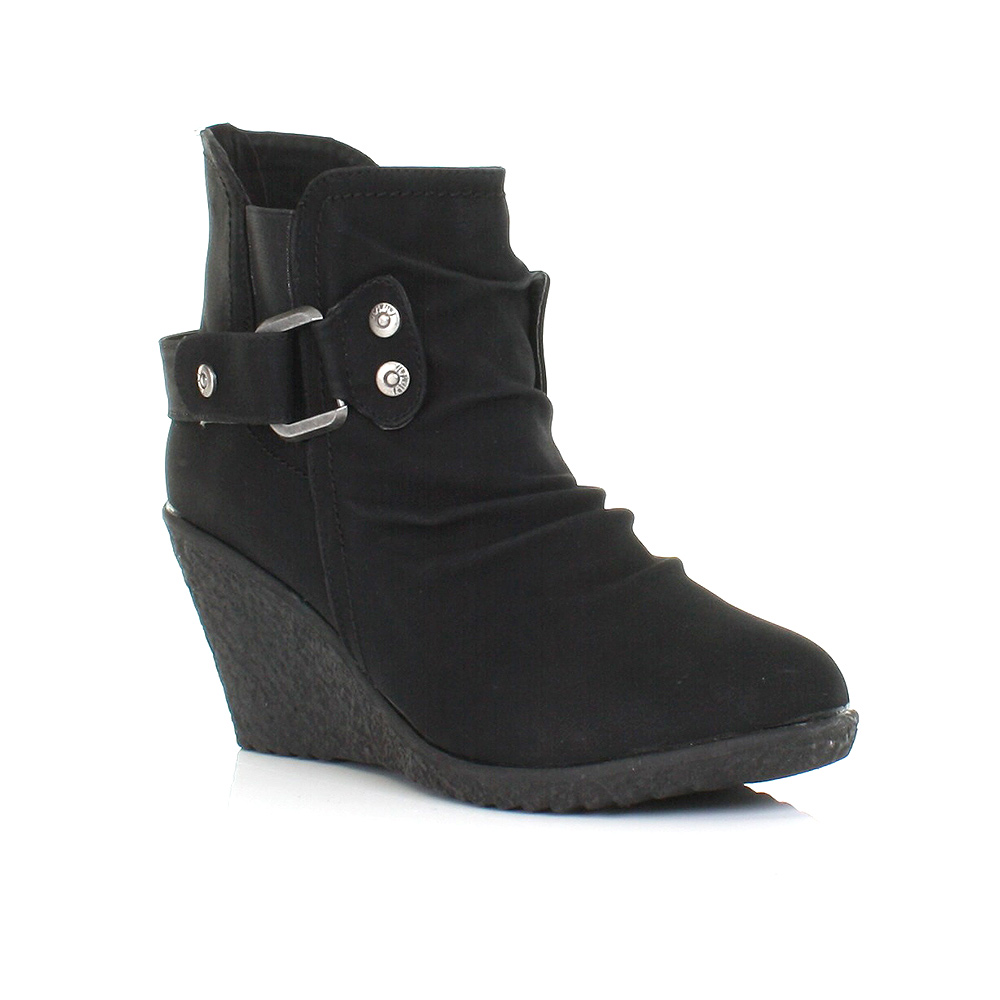 ankle boots womens black 7cm wedge mid heel black comfy