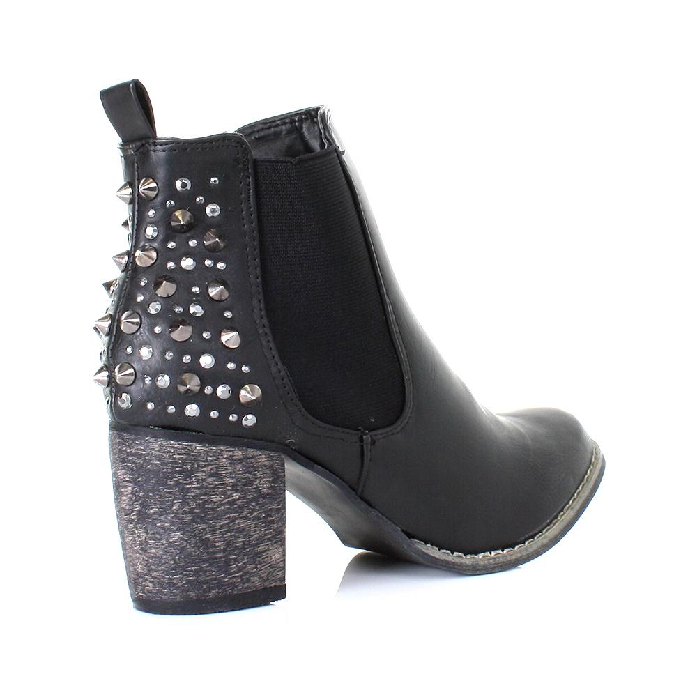 stiefelette damen boots chelsea absatz ankle boots nieten. Black Bedroom Furniture Sets. Home Design Ideas