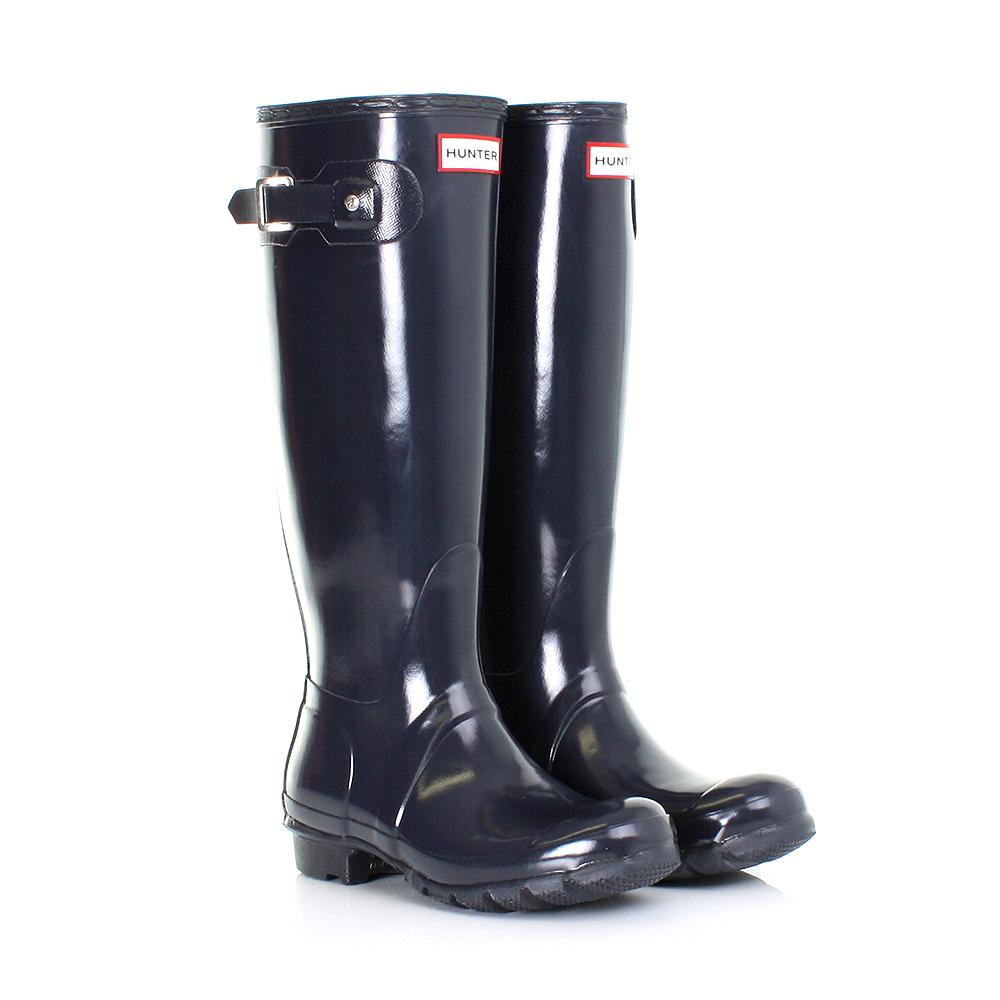 womens ladies hunter original tall gloss navy wellies wellington boots size 3 8 ebay. Black Bedroom Furniture Sets. Home Design Ideas