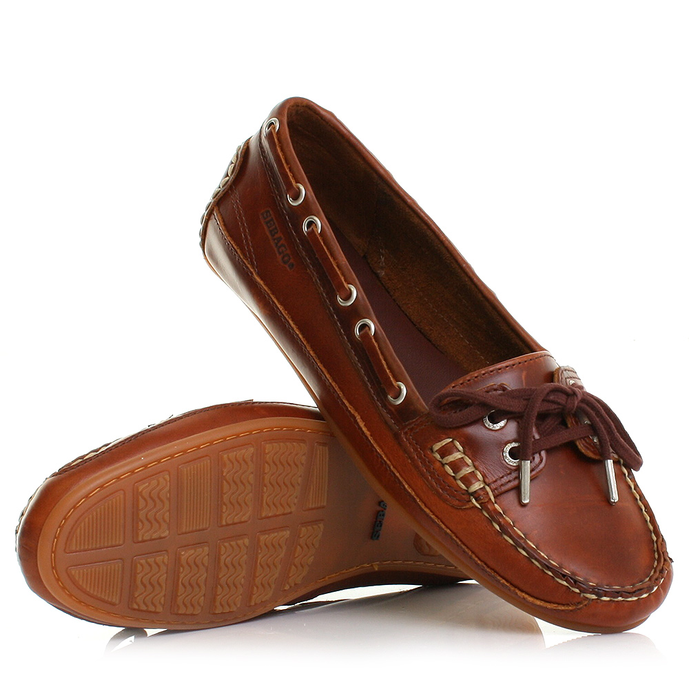 Details about WOMENS SEBAGO BALA BROWN OILED WAXY MOCCASIN LEATHER