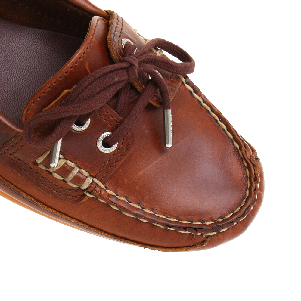 WOMENS SEBAGO ASHBY TIE TAN LEATHER SLIP ON LOAFERS BOAT SHOES