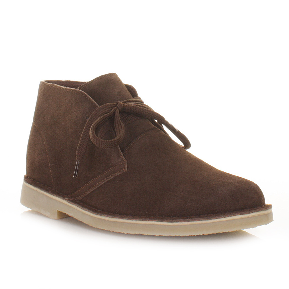 mens real suede casual lace up desert ankle boots smart