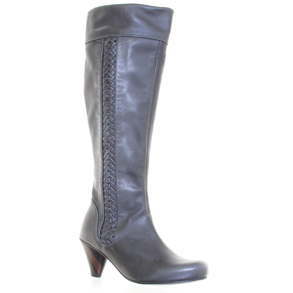 j shoes martha s grey leather knee boots size 3 8 ebay