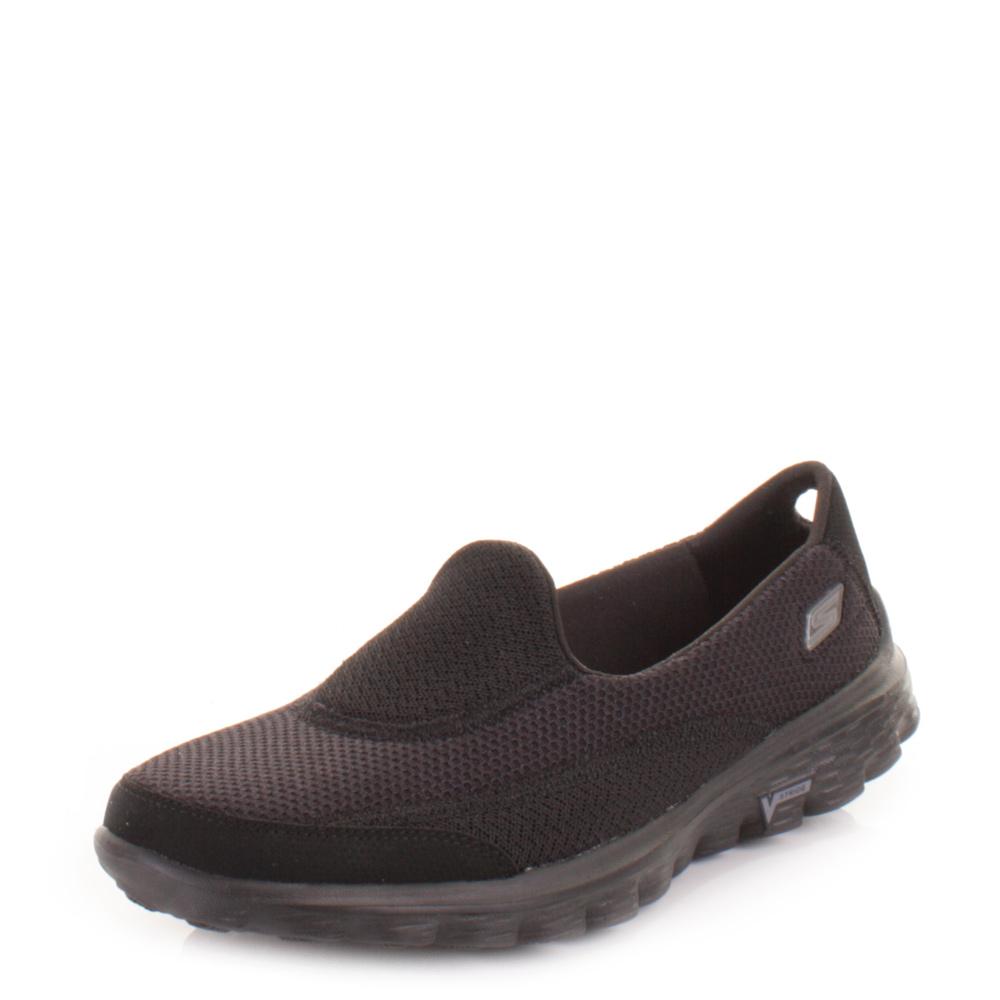 womens skechers go walk2 all black lightweight comfort