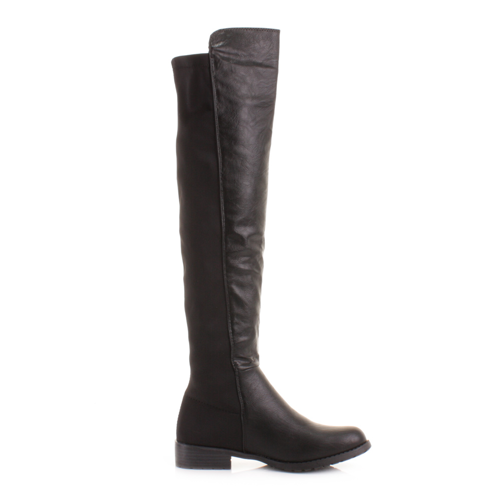 womens knee thigh high flat stretch black leather