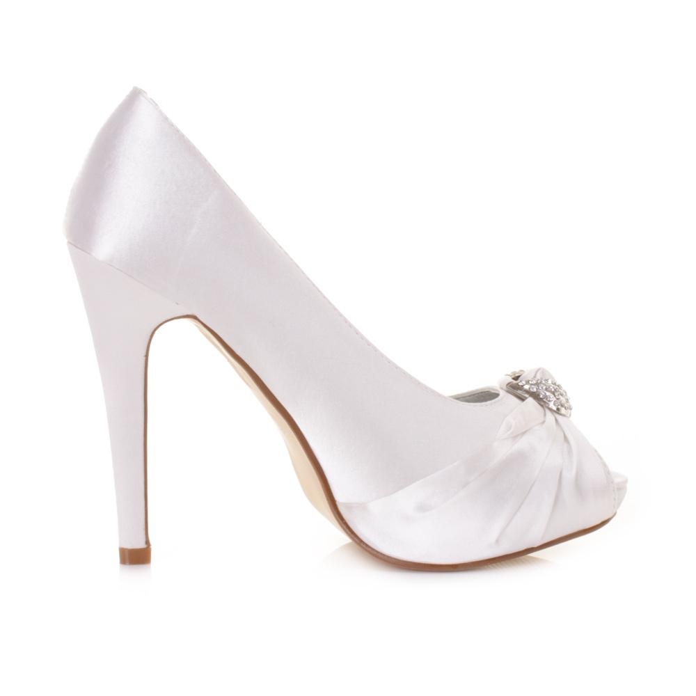 high heel diamante peep toe satin wedding prom