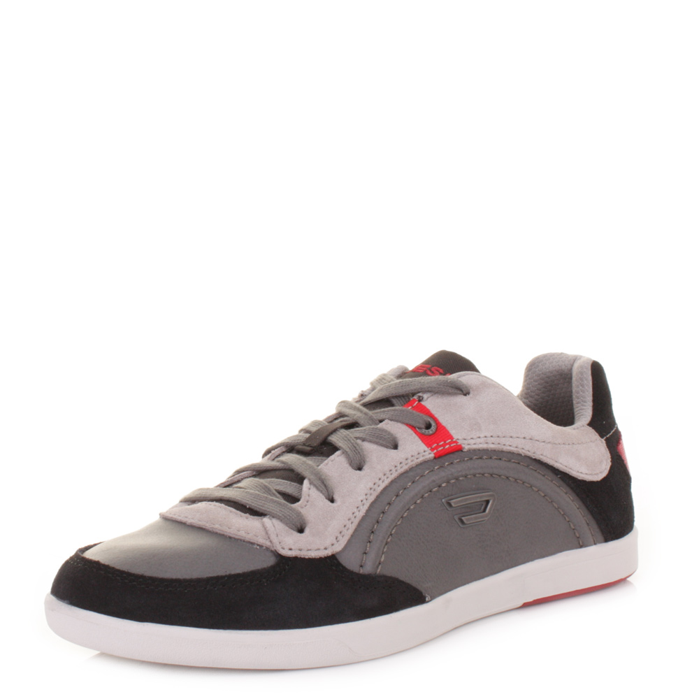 MENS DIESEL STARCH ANTHRACITE GREY LEATHER CASUAL TRAINERS ...
