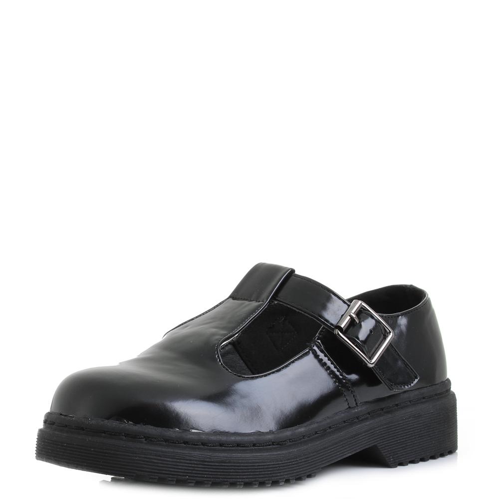 T Bar Patent Leather Platform Shoes S