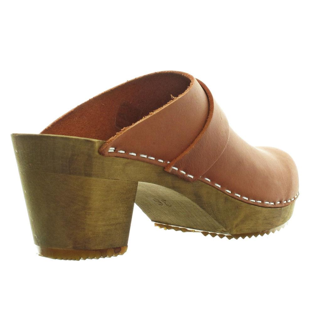 Sanita Iris Ladies Leather Wooden Heel Clogs Size 4