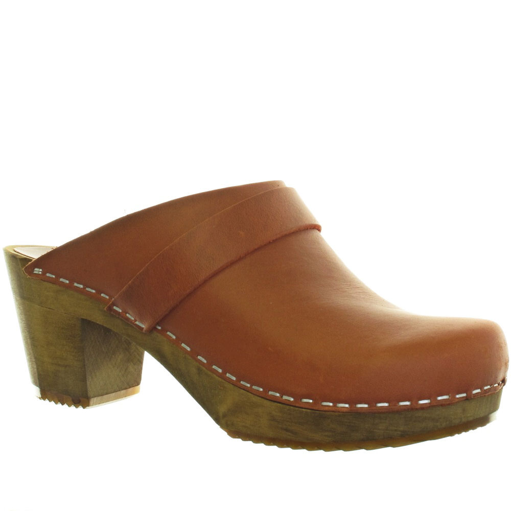Ladies Leather Wooden Shoes