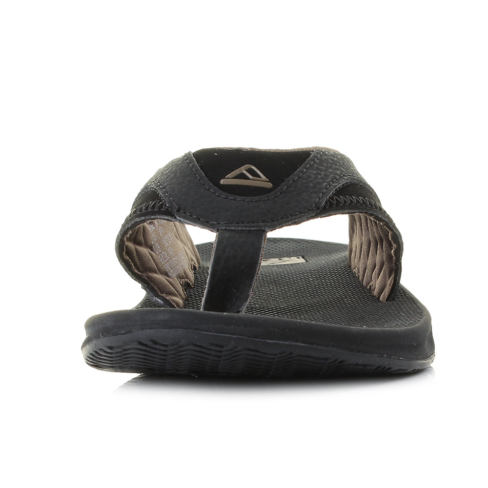 mens reef fanning black brown surf bottle opener sandals flip flops sz size ebay. Black Bedroom Furniture Sets. Home Design Ideas