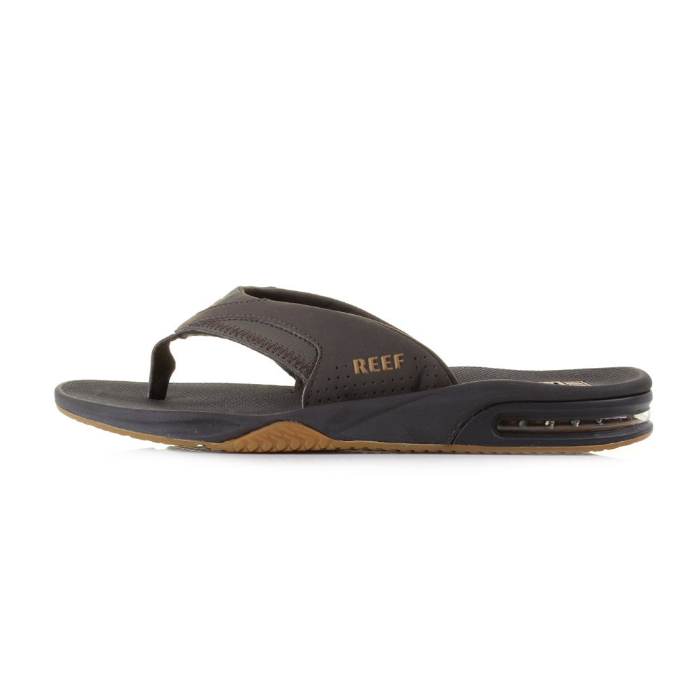 mens reef fanning brown gum bottle opener toe post sandals flip flops uk size. Black Bedroom Furniture Sets. Home Design Ideas