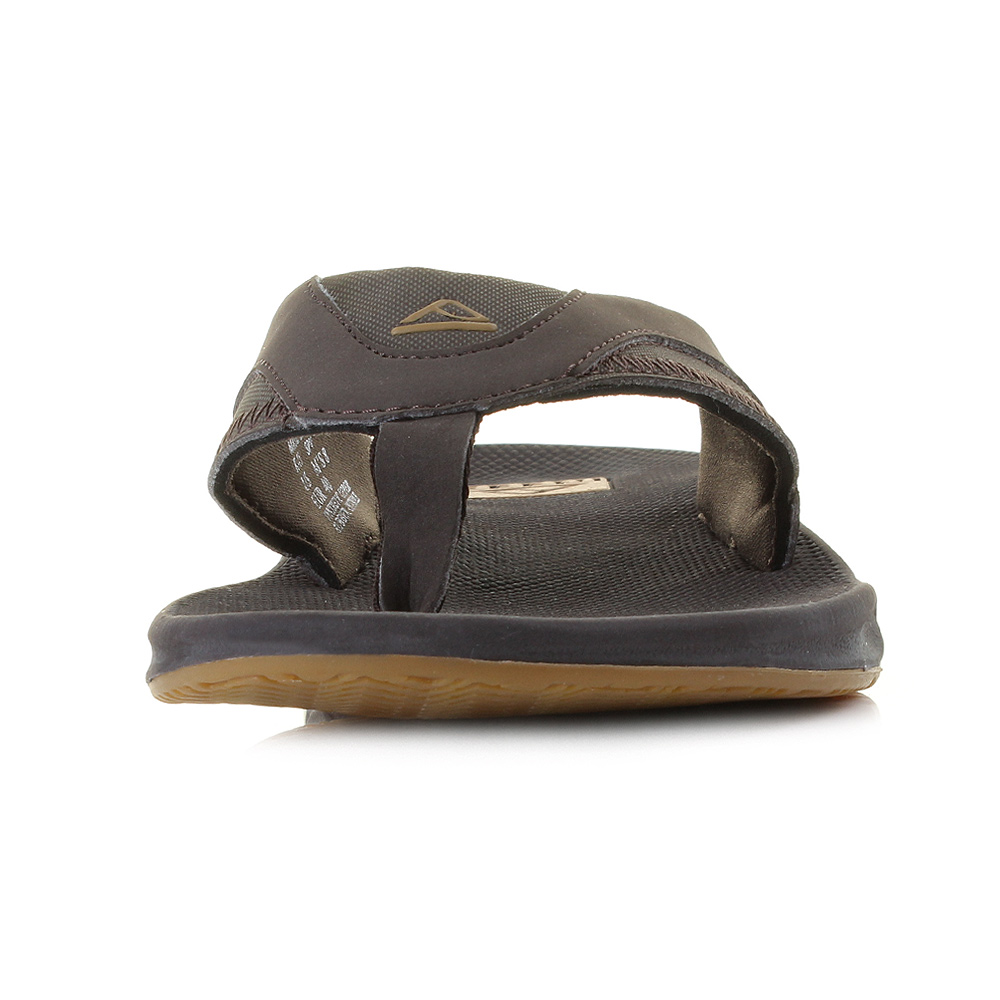 mens reef fanning brown gum bottle opener toe post sandals flip flops sz size ebay. Black Bedroom Furniture Sets. Home Design Ideas