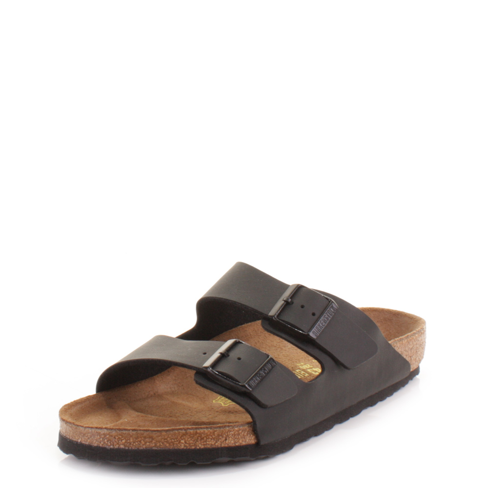 mens birkenstock arizona flat footbed slip on casual black
