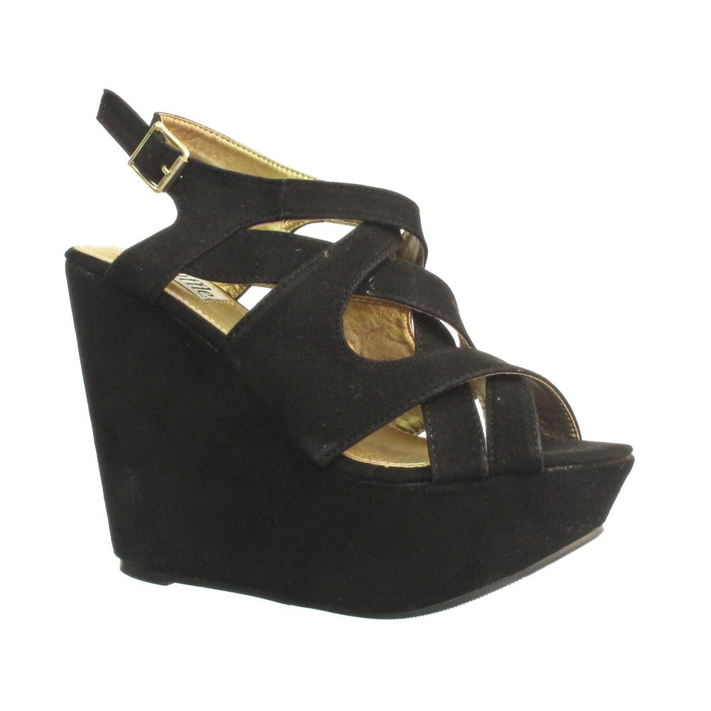 black platform wedge crossover sandals size 3 8 ebay