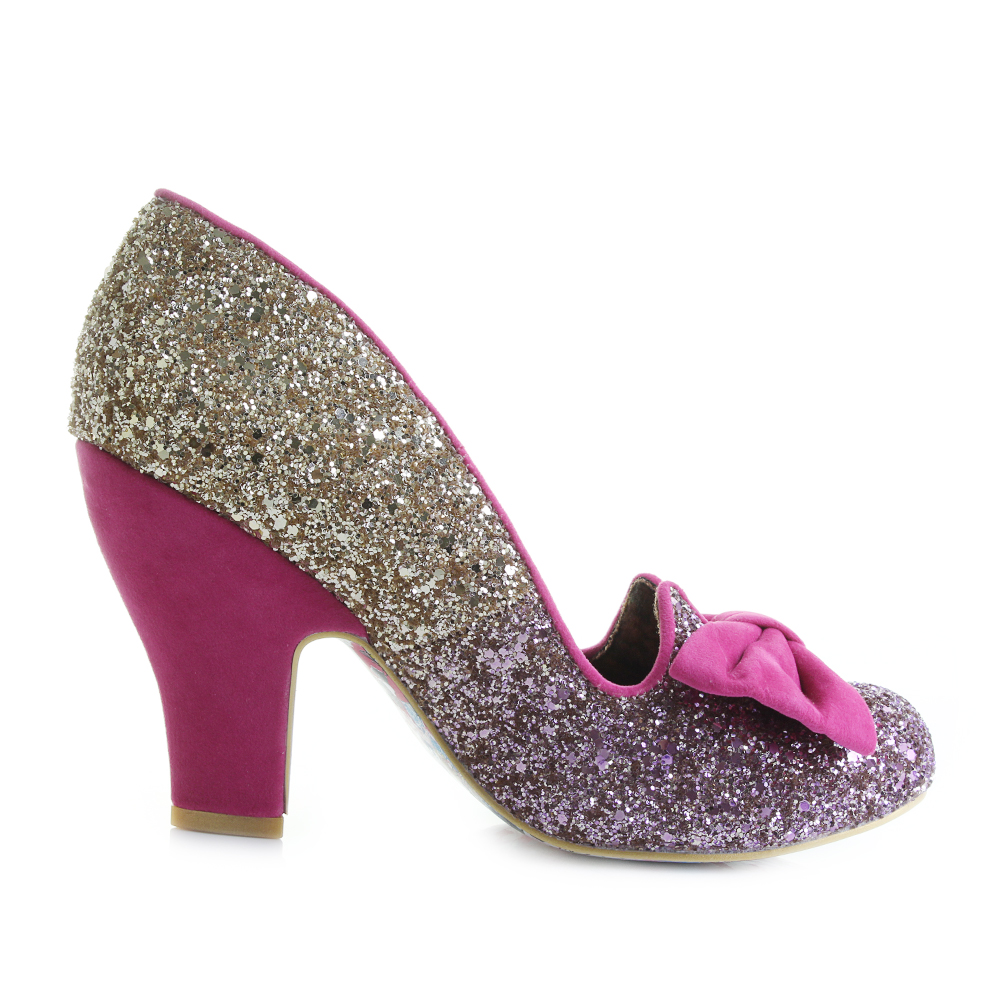 Womens Irregular Choice Nick of Time Pink/Gold High Heel Court ...