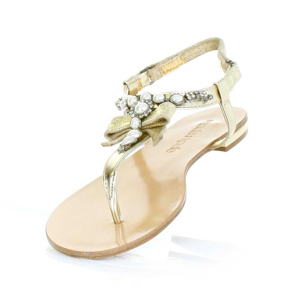 sandalen damen moda in pelle gold flach perlen besetzt. Black Bedroom Furniture Sets. Home Design Ideas