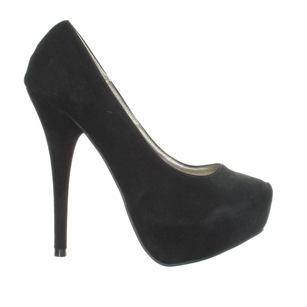 escarpin noir talon haut compens femme pointure 36 41 chaussure mode ebay. Black Bedroom Furniture Sets. Home Design Ideas