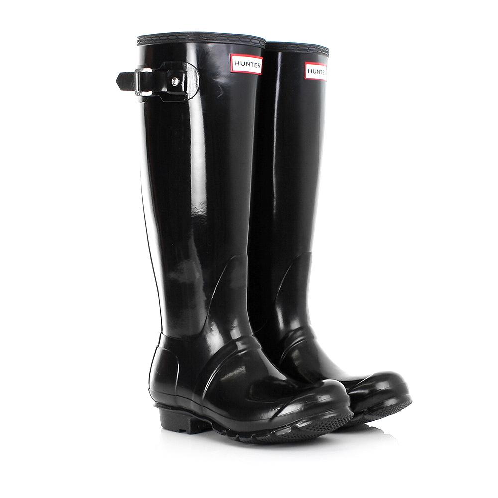 hunter original tall black gloss wellies wellington boots size 3 8 ebay. Black Bedroom Furniture Sets. Home Design Ideas