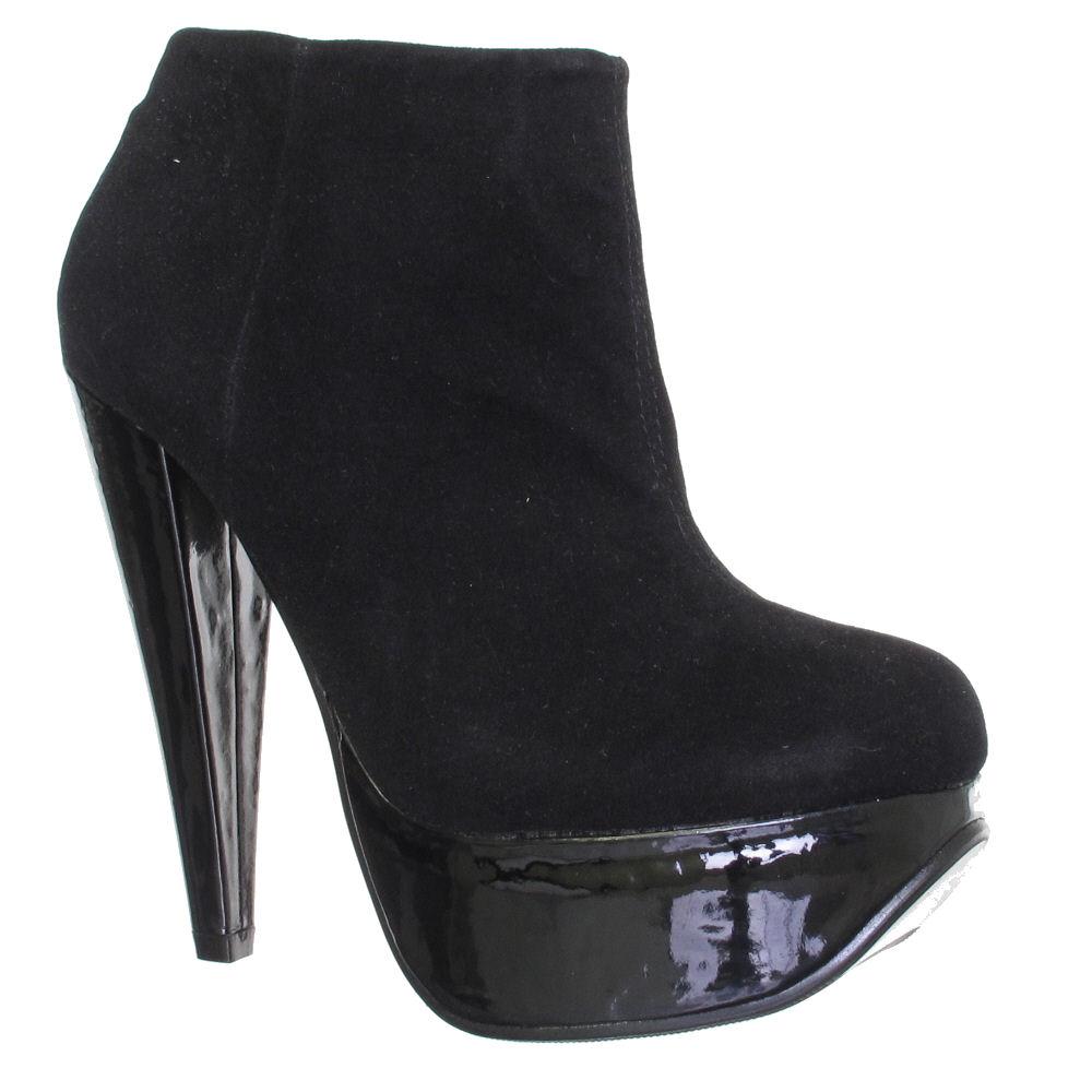 black high heel platform ankle boots size 3 8 ebay