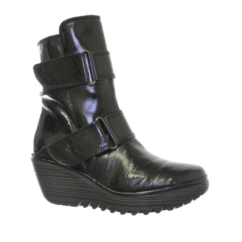 fly yaki leather black wedge boots size 3 8 ebay