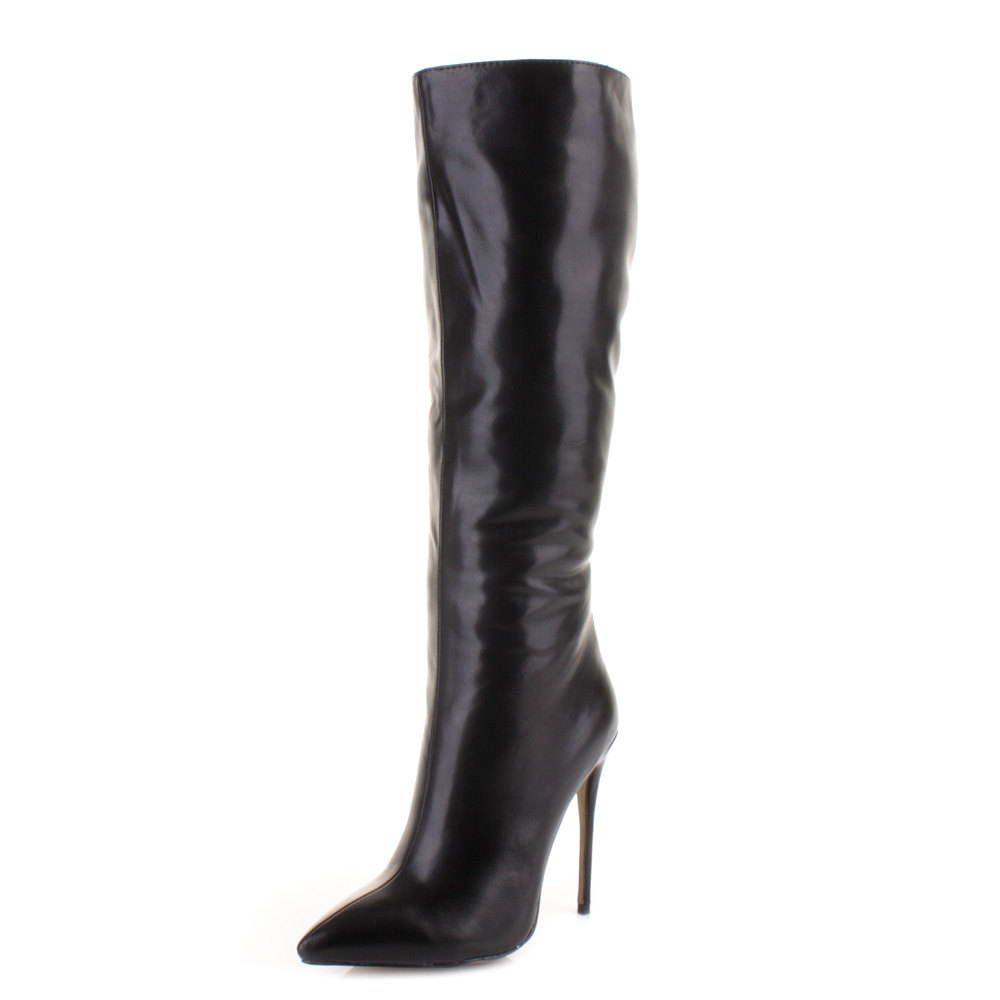 womens black leather style knee high stiletto