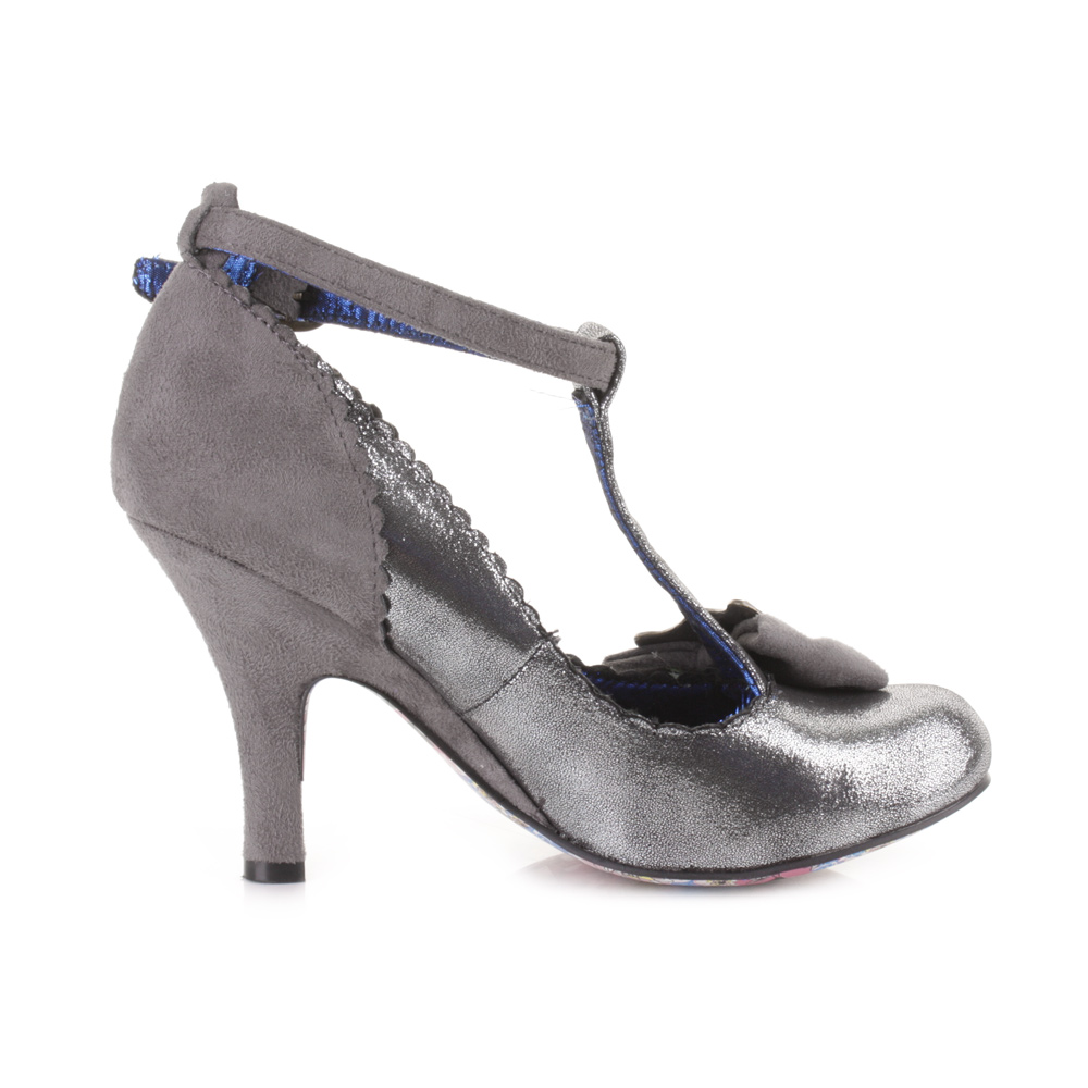 womens irregular choice simba grey ankle strap silver
