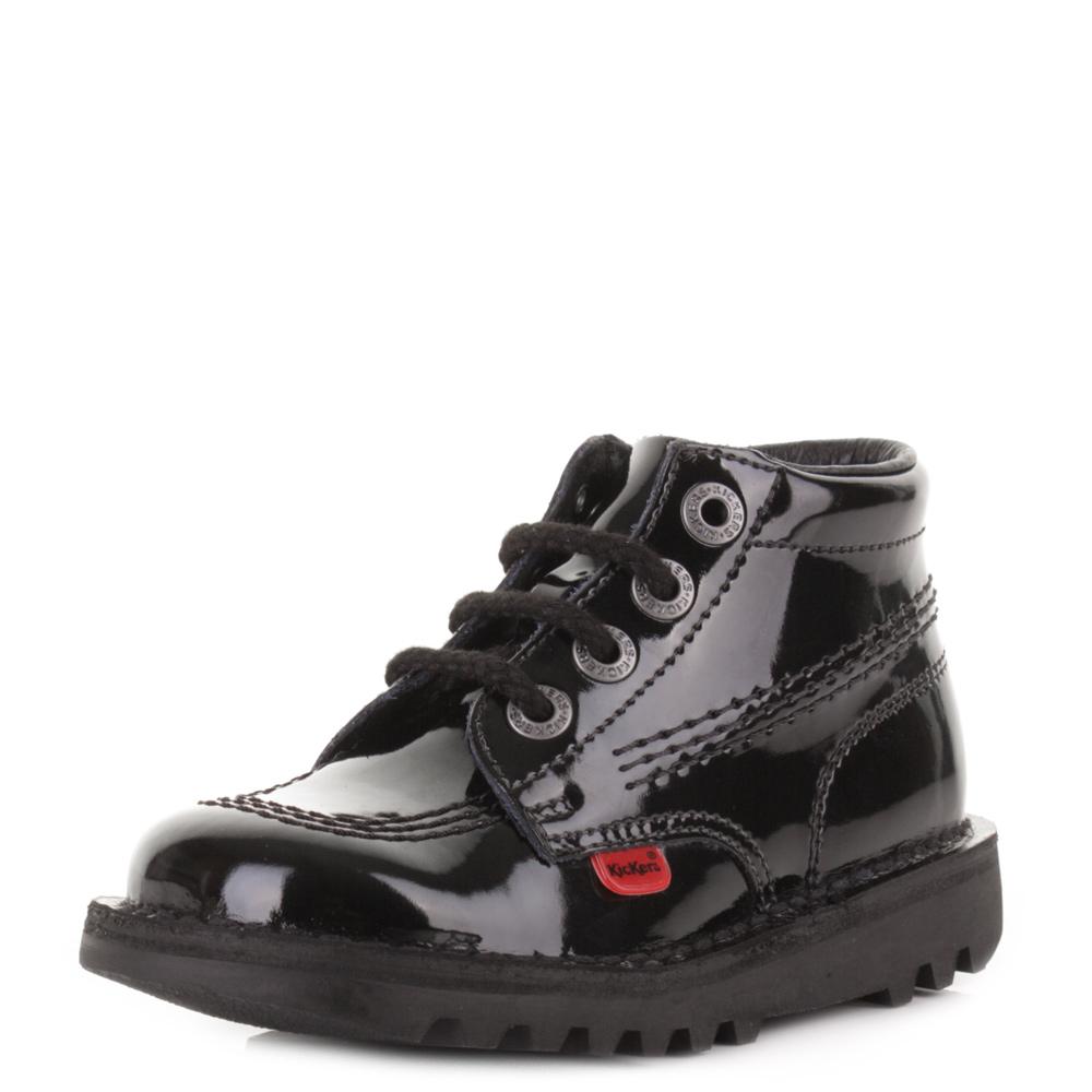 Patent Lace Up Platform School Shoes
