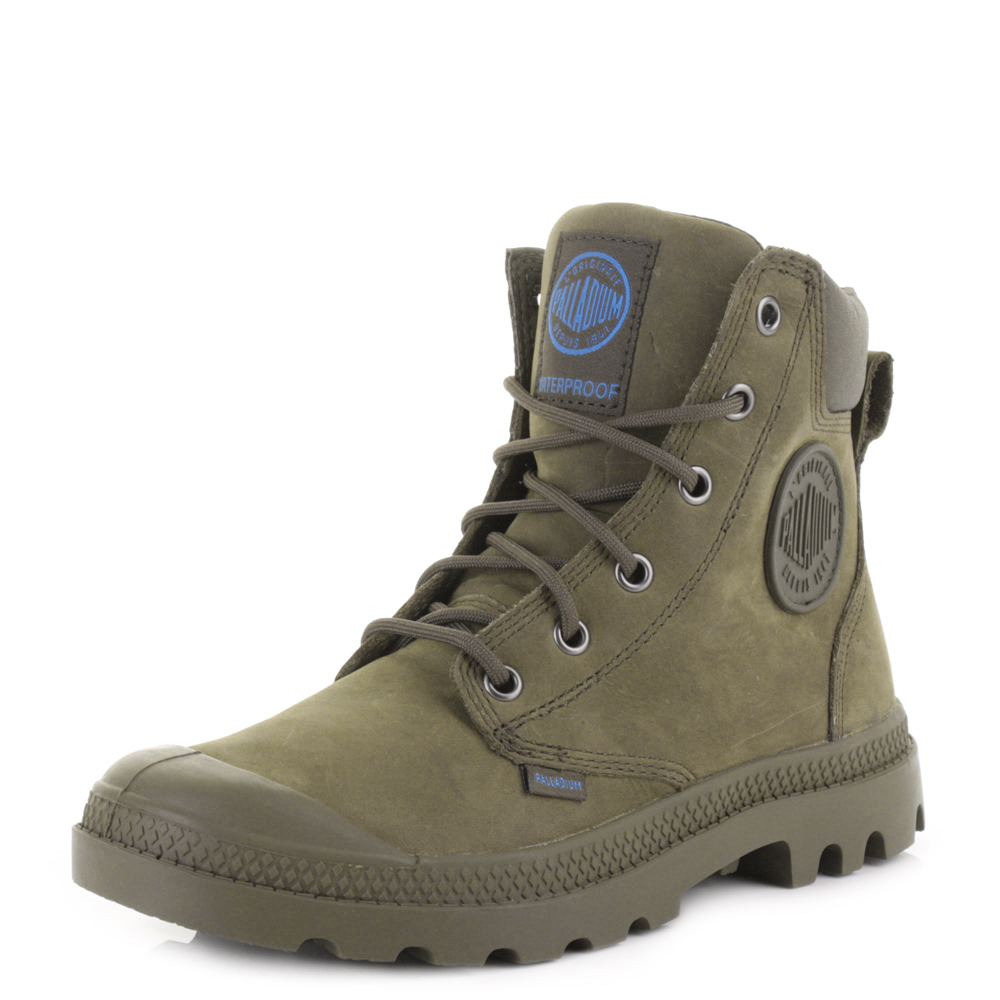 PALLADIUM PAMPA CUFF WATERPROOF LUX OLIVE DRAB LEATHER ANKLE BOOTS ...