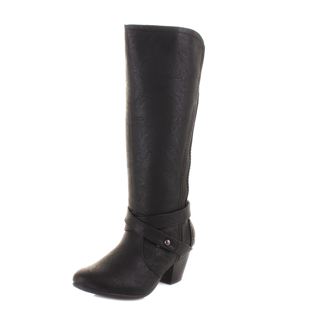 womens knee high comfort wide fitting heeled leather style